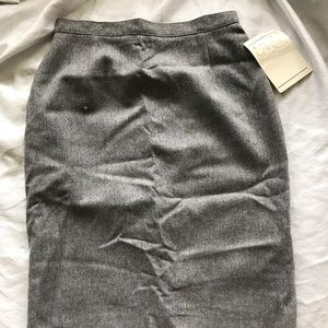 NWT 100% wool vintage grey pencil skirt